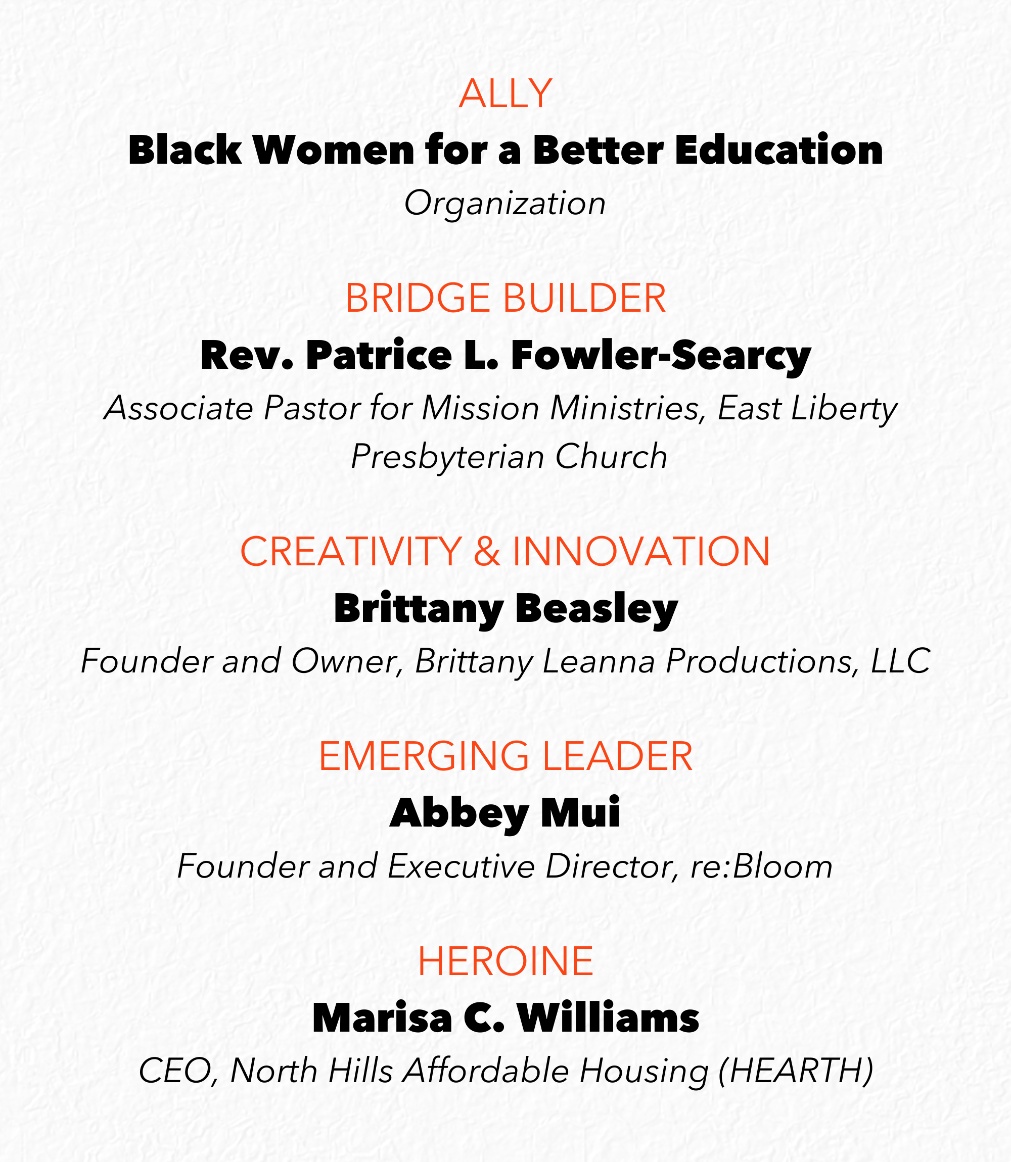 Ally, Black Women for a Better Education, Organization, Bridge Builder, Rev. Patrice L. Fowler-Searcy, Associate Pastor for Mission Ministries, East Liberty Presbyterian Church, Creativity & Innovation, Brittany Beasley, Founder and Owner, Brittany Leanna Productions, LLC, Emerging Leader, Abbey Mui, Founder and Executive Director, re:Bloom, Heroine, Marisa C. Williams, CEO, North Hills Affordable Housing (HEARTH)
